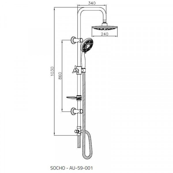 Душевой гарнитур с верхним душем Invena Socho AU-59-001