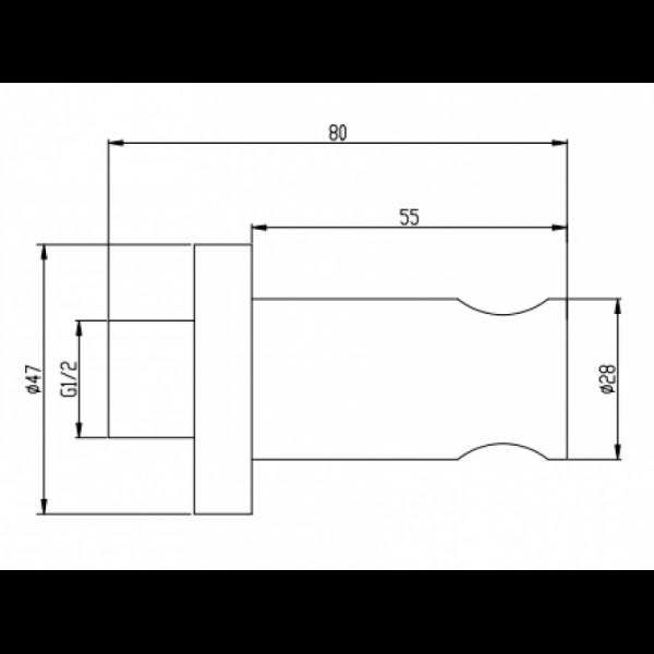 Шланговое подключение с держателем Invena SC-P1-002