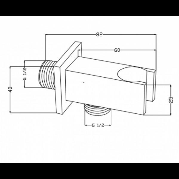Шланговое подключение с держателем Invena SC-P1-033