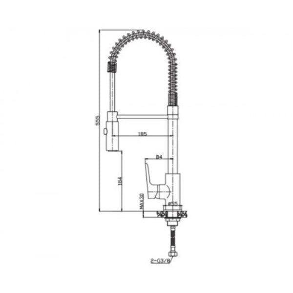 Смеситель для кухни c двухфункциональным изливом Invena Dokos BZ-19-S01