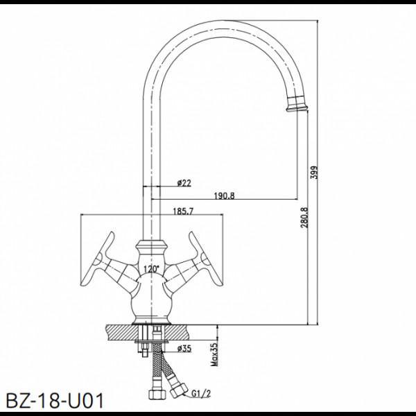 Смеситель для кухни Invena Daysi BZ-18-U01
