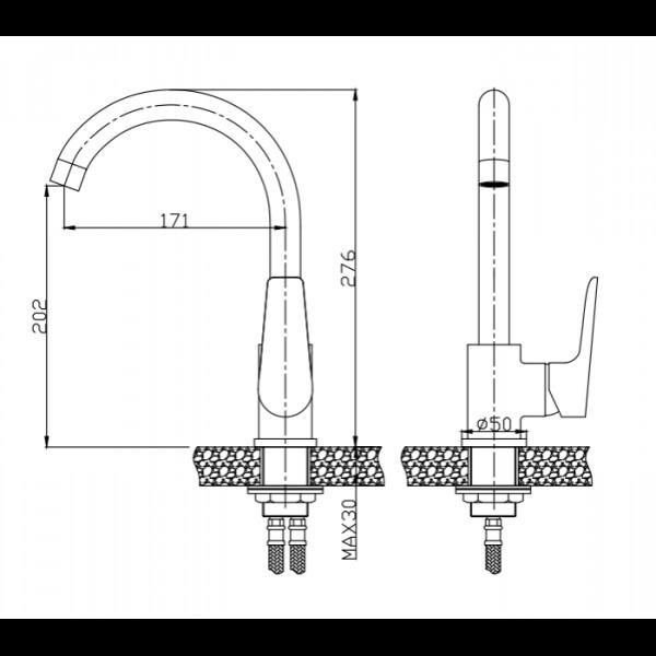 Смеситель для кухни Invena Dokos BZ-19-001