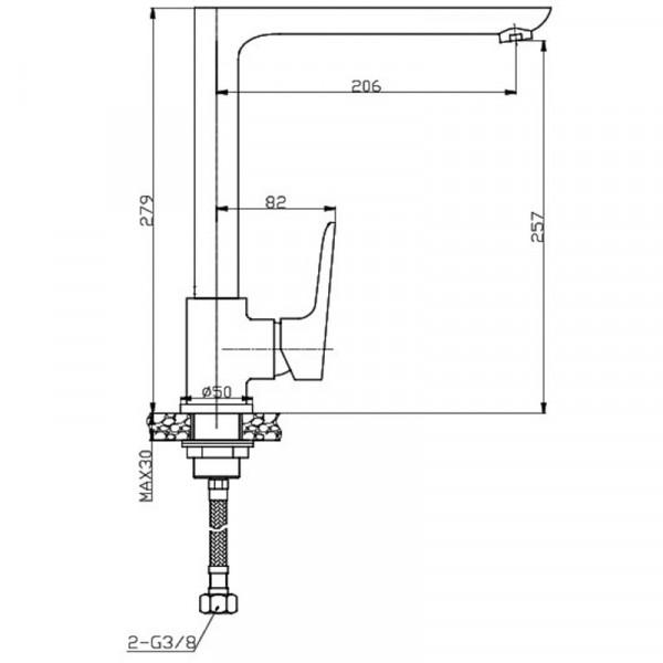 Смеситель для кухни Invena Dokos BZ-19-L02