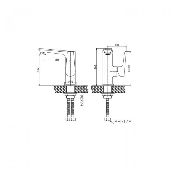 Смеситель для раковины Invena Dokos BU-19-0B1