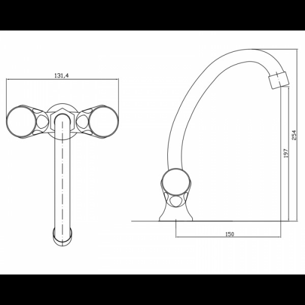 Смеситель для раковины излив 15 см Invena Modena BU-11-F0S