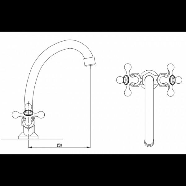 Смеситель для раковины излив 15 см Invena Roma BU-21-00S
