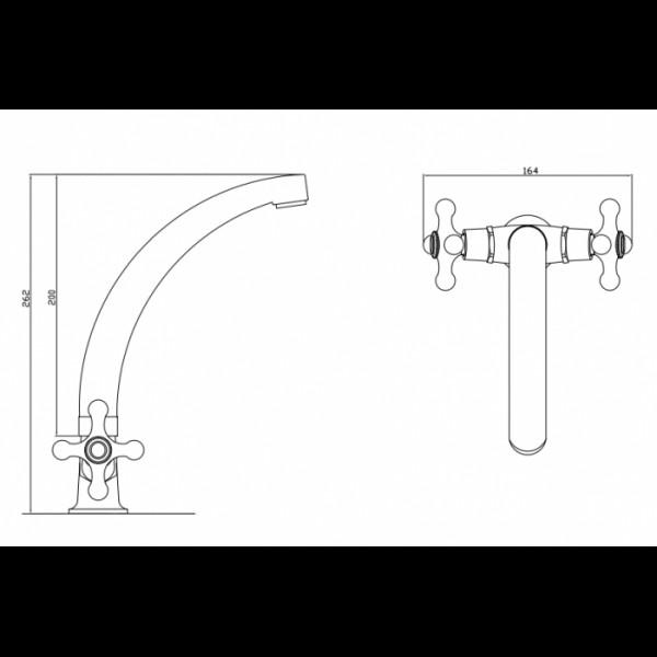 Смеситель для раковины излив 20 см Invena Roma BU-23-00S