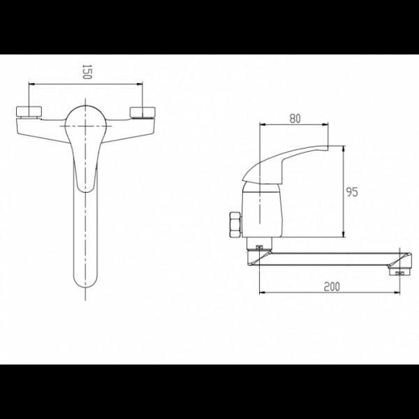 Смеситель для раковины настенный Invena Mitris BC-79-001