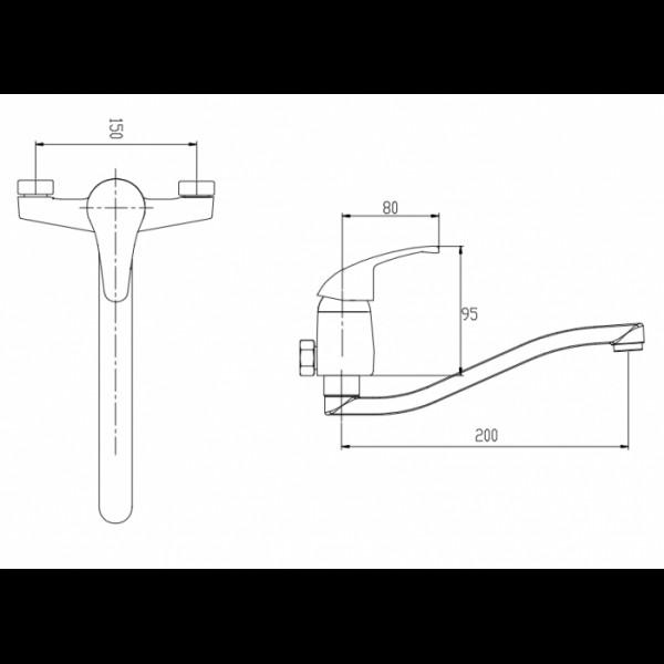 Смеситель для раковины настенный Invena Mitris BC-79-K01