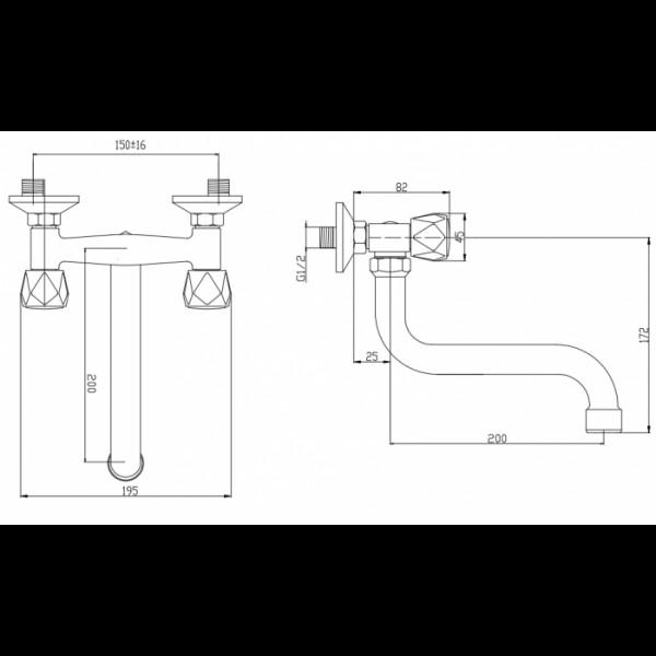 Смеситель для раковины настенный Invena Modena BC-11-F0S