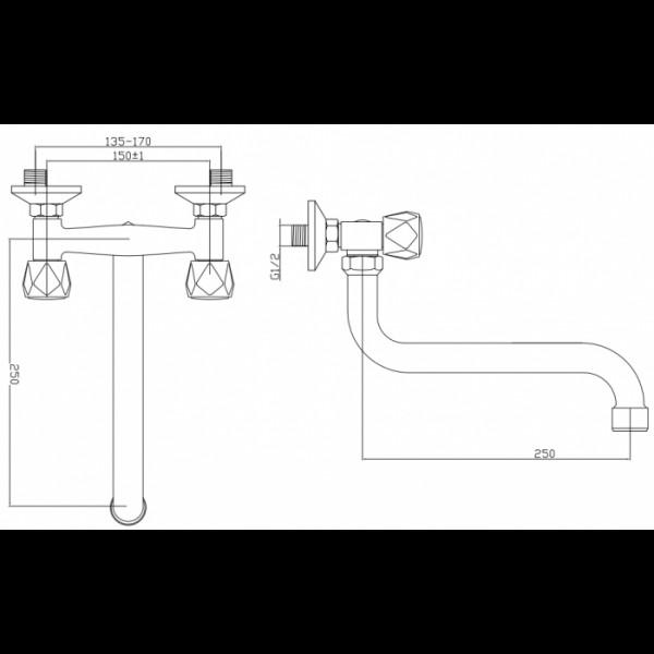 Смеситель для раковины настенный Invena Modena BC-12-F0S