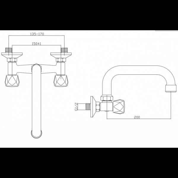 Смеситель для раковины настенный Invena Modena BC-14-F0S