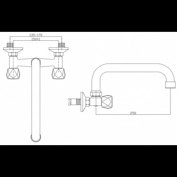 Смеситель для раковины настенный Invena Modena BC-15-F0S