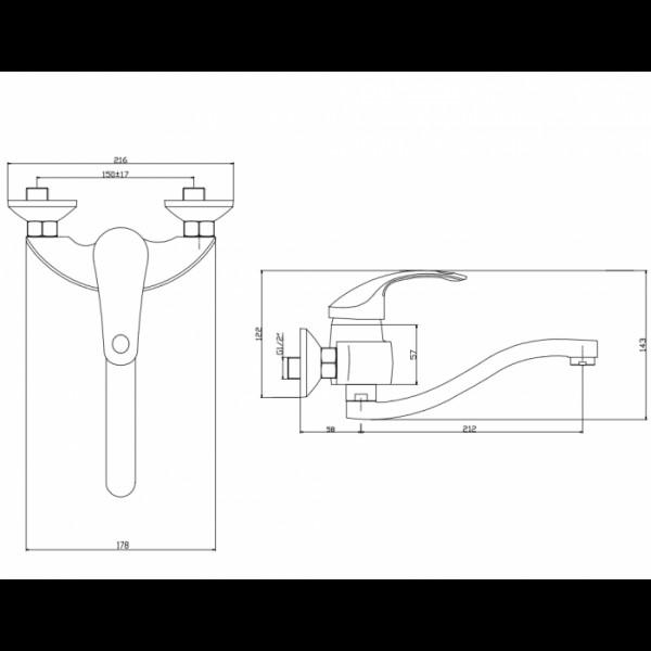 Смеситель для раковины настенный Invena Nea BC-83-001