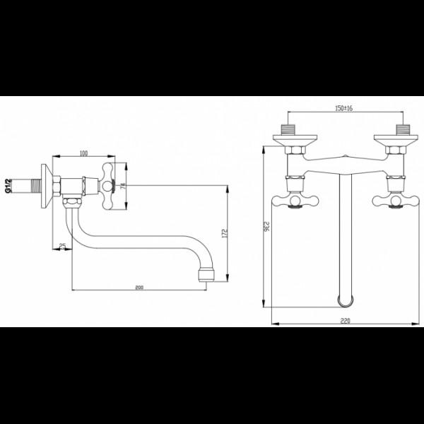 Смеситель для раковины настенный Invena Roma BC-21-00S
