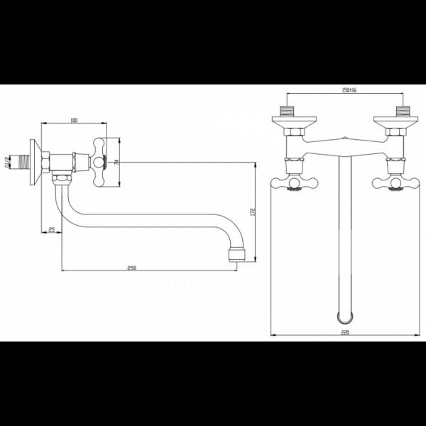 Смеситель для раковины настенный Invena Roma BC-22-00S