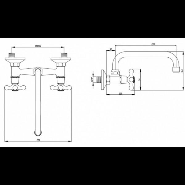 Смеситель для раковины настенный Invena Roma BC-24-00S