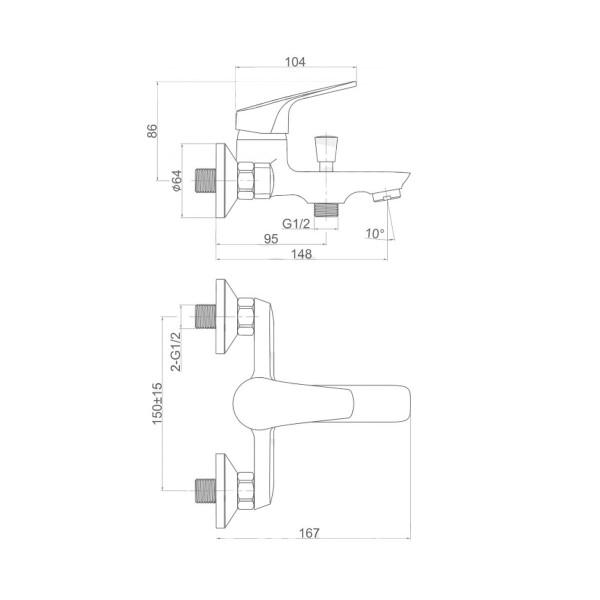 Смеситель для ванны Invena Gracja BW-20-001