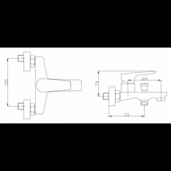Смеситель для ванны Invena Dokos BW-19-001