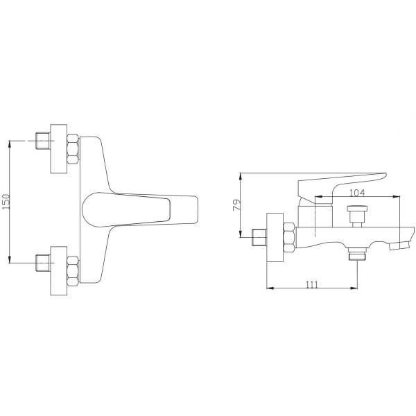 Смеситель для ванны Invena Dokos BW-19-002