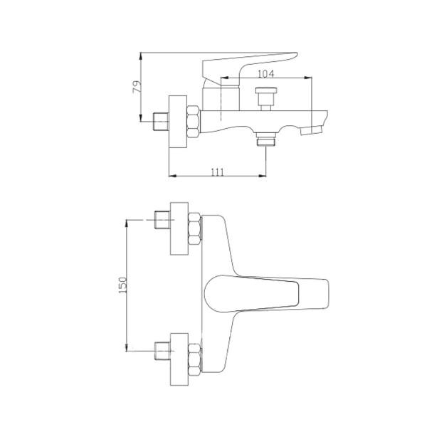 Смеситель для ванны Invena Dokos BW-19-005