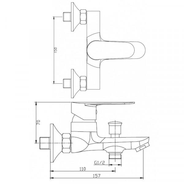 Смеситель для ванны Invena Esla BW-94-001