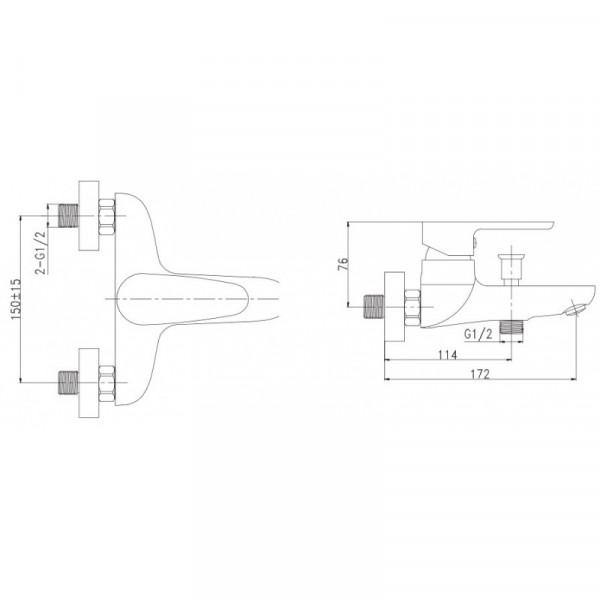 Смеситель для ванны Invena Kastos BW-16-001