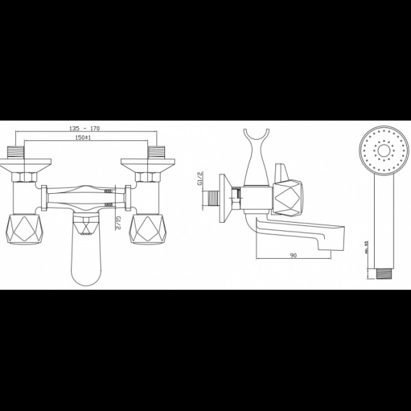 Смеситель для ванны Invena Modena BW-11-F0S