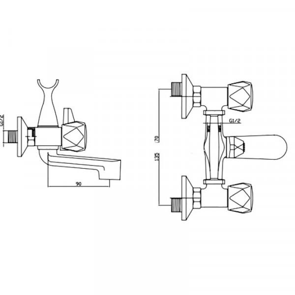 Смеситель для ванны Invena Modena BW-11-FOS