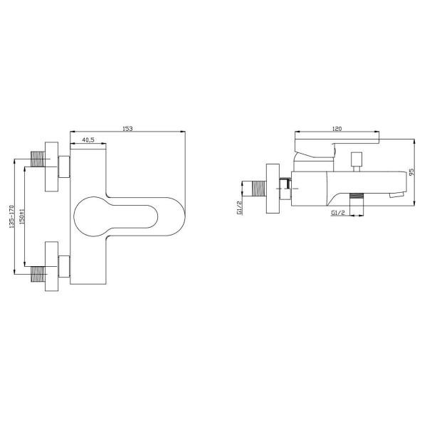 Смеситель для ванны Invena Roland BW-92-001