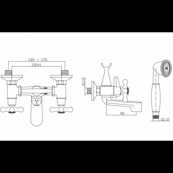 Смеситель для ванны Invena Roma BW-21-00S