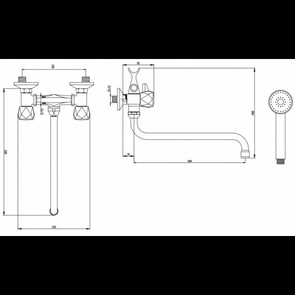 Смеситель для ванны излив 30 см Invena Modena BW-14-F0S