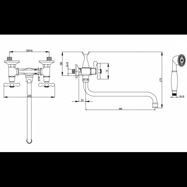 Смеситель для ванны излив 30 см Invena Roma BW-24-00S