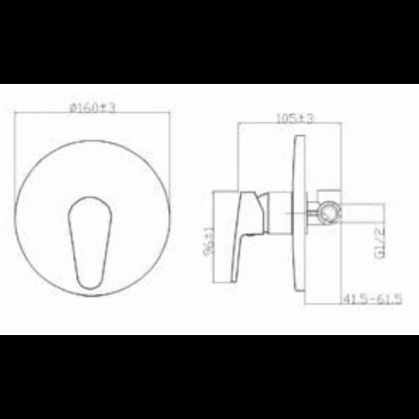 Смеситель скрытого монтажа без переключателя Invena Rotonda BP-73-001