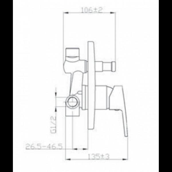 Смеситель скрытого монтажа с переключателем Invena Rotonda BP-73-P01