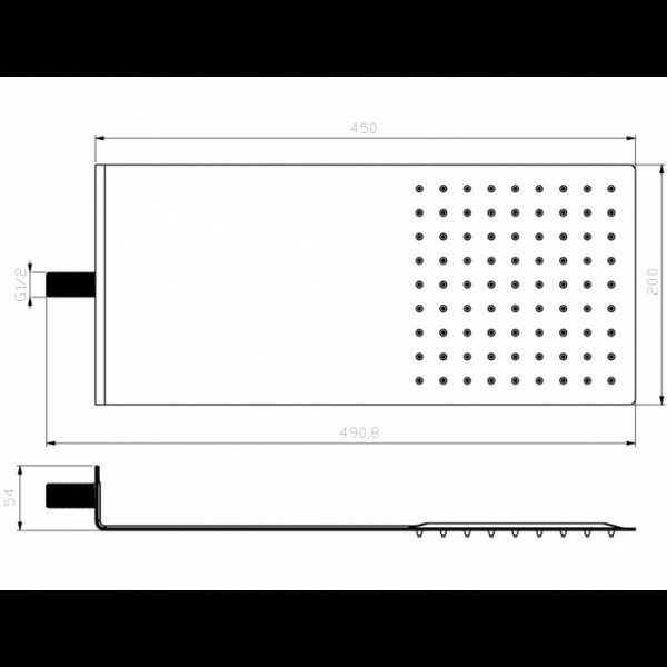 Верхний душ настенный 450x200x2 мм Invena SC-D1-040