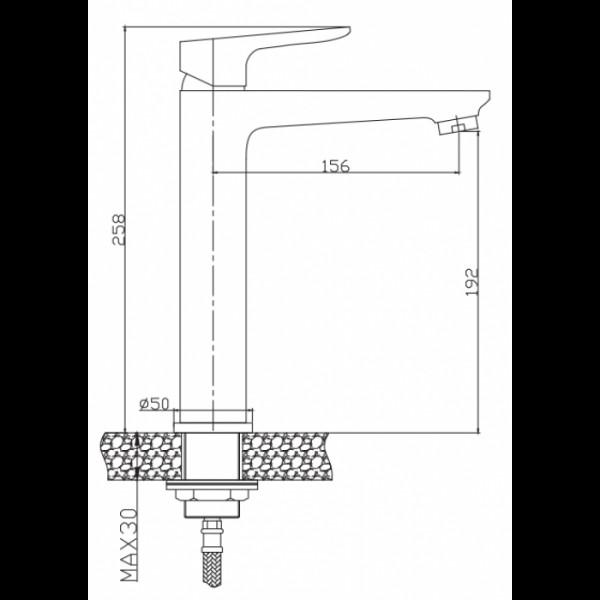Высокий смеситель для раковины Invena Dokos BU-19-W01