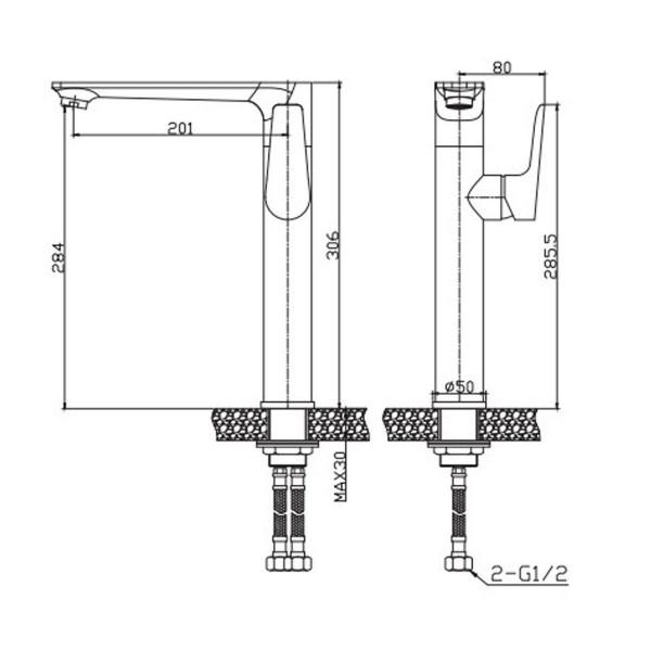 Высокий смеситель для раковины Invena Dokos BU-19-WB1