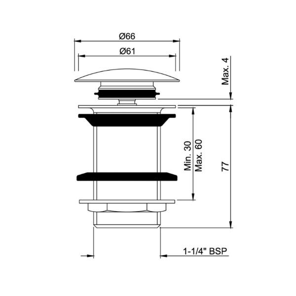 Донный клапан Click-Clack Jaquar ALD-WHM-727
