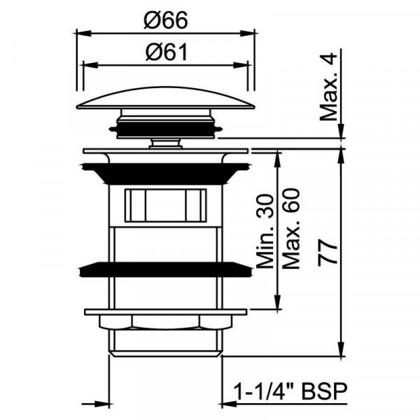Донный клапан Click-Clack Jaquar ALD-WHM-729