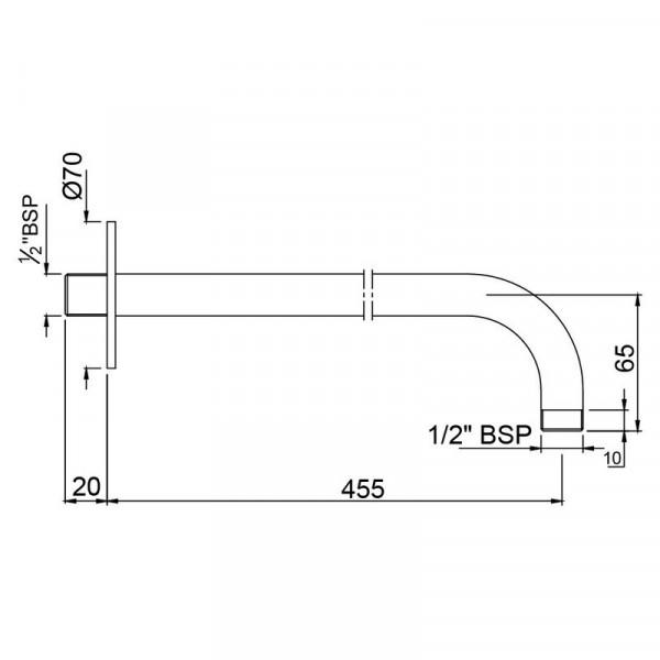 Кронштейн для верхнего душа 450 мм Jaquar SHA-CHR-479L450