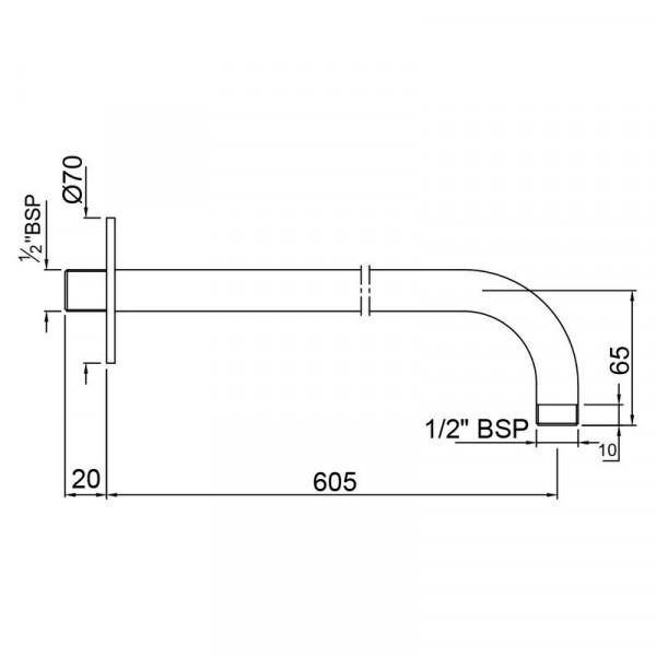 Кронштейн для верхнего душа 600 мм Jaquar SHA-CHR-479L600