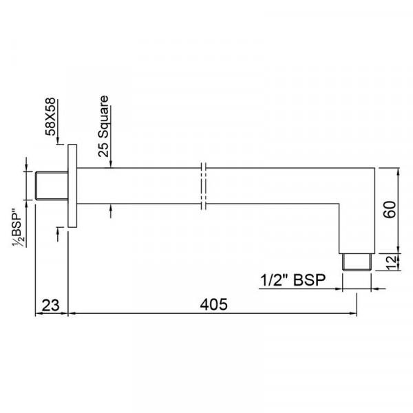 Кронштейн для верхнего душа квадратный Jaquar SHA-CHR-455L400