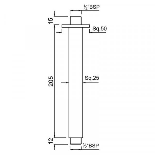 Кронштейн для верхнего душа квадратный Jaquar SHA-CHR-457L200