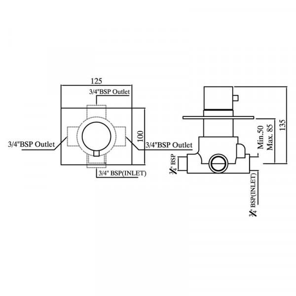 Переключатель скрытого монтажа на 3 положения Jaquar FLR-CHR-5289