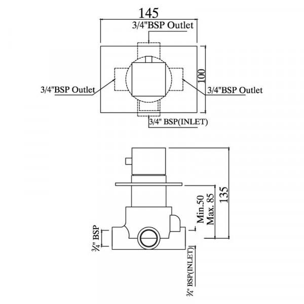 Переключатель скрытого монтажа на 3 потребителя Jaquar Kubix F KUB-CHR-35289