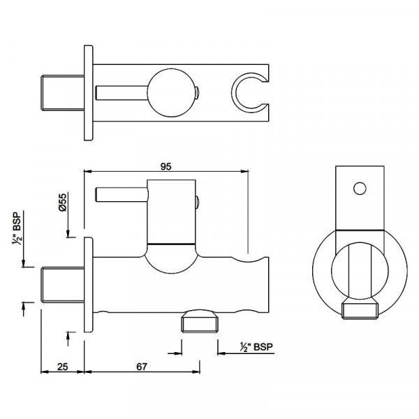 Подключение шланга с держателем и вентилем Jaquar ALD-CHR-591R