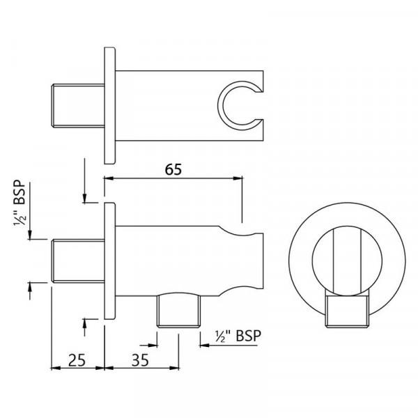 Подключение шланга с держателем Jaquar SHA-CHR-566R