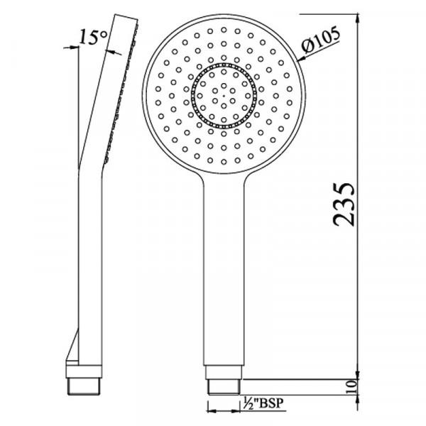 Ручной душ 105 мм 1 режим Jaquar HSH-CHR-1717