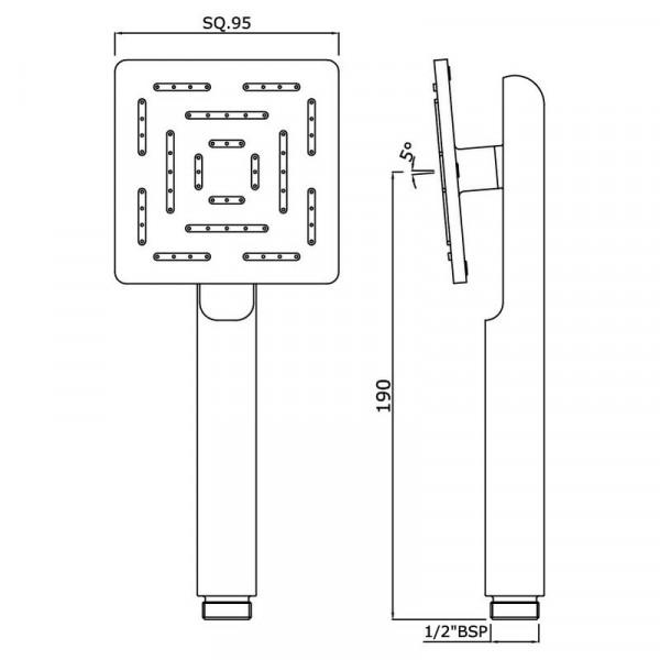 Ручной душ квадратный 95 мм 1 режим Jaquar Maze HSH-CHR-1655